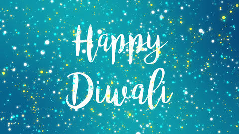 Sparkly teal blue Happy Diwali greeting card video Animation