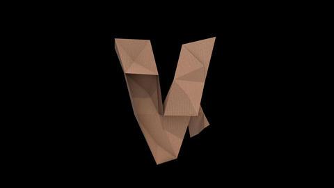 Animated low polygon cardoard typeface V cb Animation
