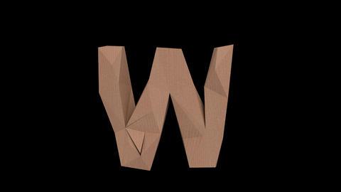 Animated low polygon cardoard typeface W CB Animation