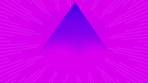 Retro pyramid looping background in pink and blue. 1980s theme old school Animation