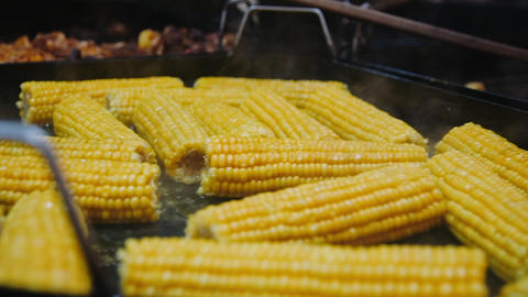 Closeup bbq corn roasting on metal surface. Tasty corn swings cooking on grill Live Action