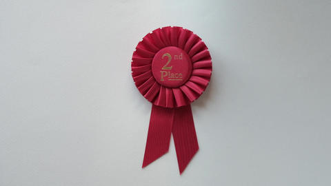 2nd Place winner Rosette with red ribbon Live Action