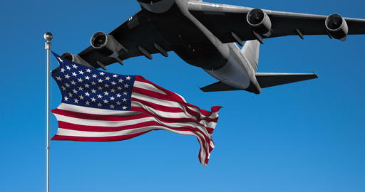 Commercial Plane Flies Over American Flag Animation Live Action