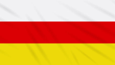 South Ossetia flag waving cloth, ideal for background, loop Animation