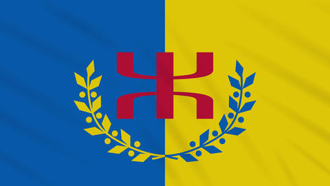 Kabylia flag waving cloth, ideal for background, loop Animation