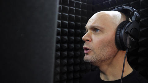 Bald Singer Records Song at Recording Studio Live Action