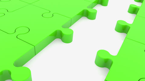 Puzzle pieces in green color with one missing blue Animation