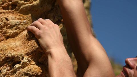 Climber Climbs The Steep Rock Footage