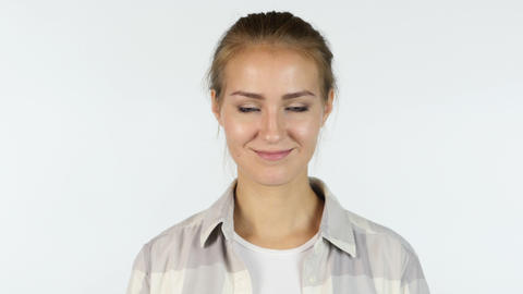 Yes, Accepting Offer, Portrait of Beautiful Girl Shaking Head, White Background Footage