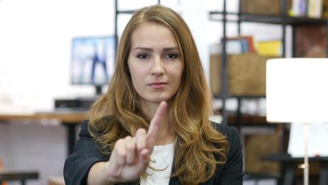 Denying Gesture by Girl at Work, Rejection, Waving Finger Footage