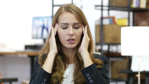 Headache, Work Overload, Stressed Girl at Work in Office Footage