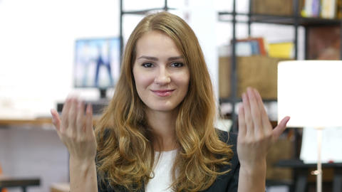 Invitation Gesture by Girl at Work in Office, Come On Live Action