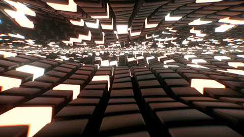 Dynamic wavy floor made of reflective black and glowing cubes, 4k background loop Animation