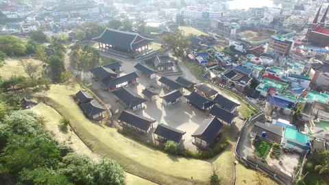 Aerial View of Korean Traditional House in Tongyeong, Gyeongnam, South Korea, Asia Live Action