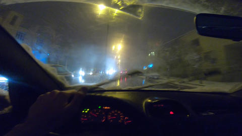 Driving In Snowy Street GIF