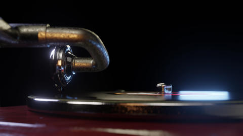 vintage gramophone vinyl turntable record player spinning seamless loop 4k GIF