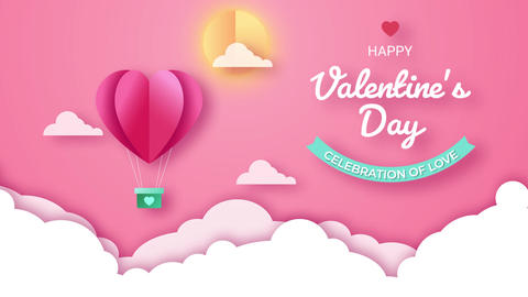 Valentine's Day Paper Style Title Motion Graphics Template
