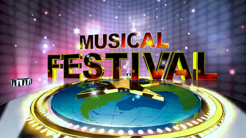 379 3d animated collection of three musical footages with words MUSIC FESTIVALS Animation