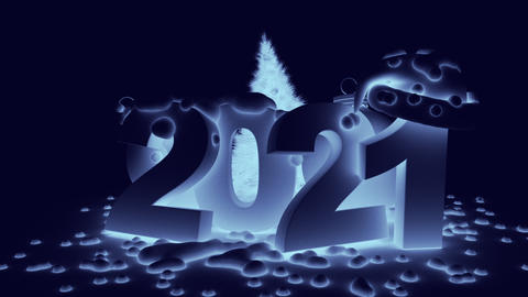 Snowy numbers 2021 in blue tinting GIF