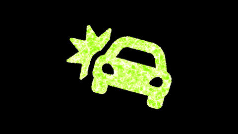 Symbol car crash shimmers in three colors: Purple, Green, Pink. In - Out loop. Alpha channel Animation