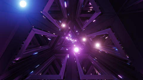 glowing spheres fly throgh tunnel corridor with glass windows 3d illustrations Animation