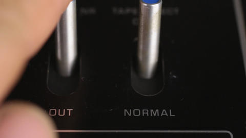 Close-up, man's finger turns off the toggle switches. Technique, switching Live Action