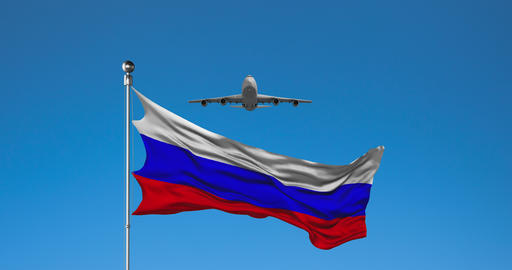 Plane Flies Over Russian flag Animation Live Action