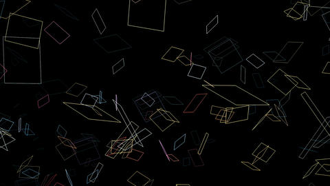 Colorful line squares floating on a black 3d space background loop Animation