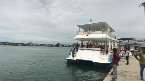 Mirissa, Sri Lanka, pleasure boat with tourist on the sea Live Action