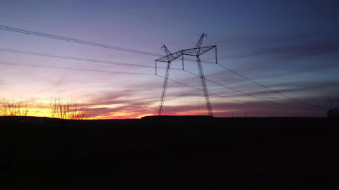 Power Lines, Power Transmission Towers Live Action