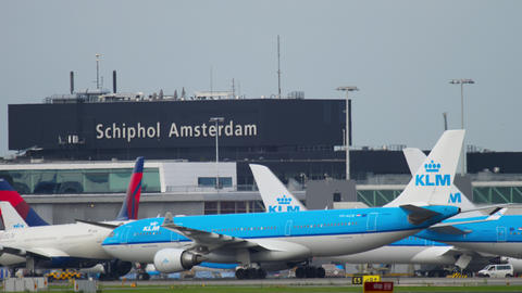 KLM Airbus A330 taxiing after landing GIF