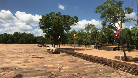 Anuradhapura, Sri Lanka, the view of the flags outside of Dagobah Live Action