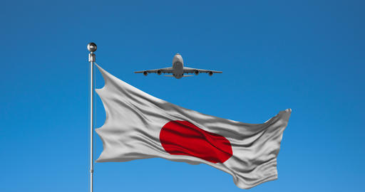 Commercial Plane Flies Over Japan flag Animation Live Action