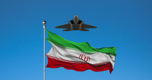 Combat Aircraft and Iranian flag on Sky Background Live Action