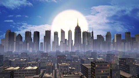Digital City Daytime Aerial Graphic Animation