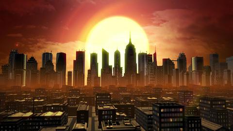 Digital City Sunset Aerial Graphic Animation
