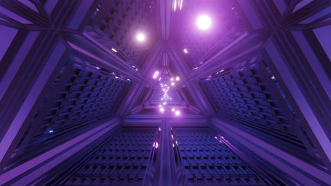 glowing spheres particles fly through triangle space tunnel corridor 3d Animation