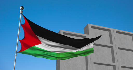Palestinian flag waving on a flagpole with a concrete wall rising up behind Live Action