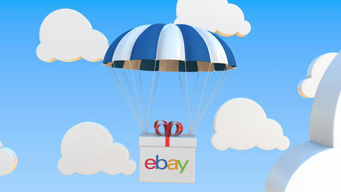 EBAY logo on moving box moves under parachute. Editorial loopable 3D animation Live Action