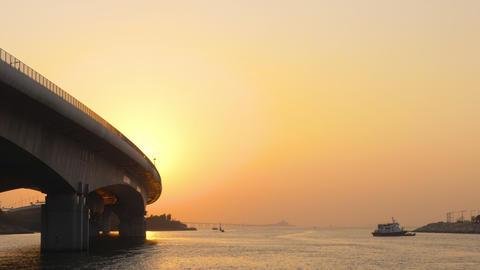 Hong Kong - Macau bridge at Sunset GIF