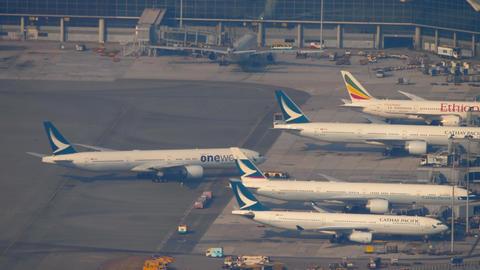 Boeing 777 push back, aerial view GIF