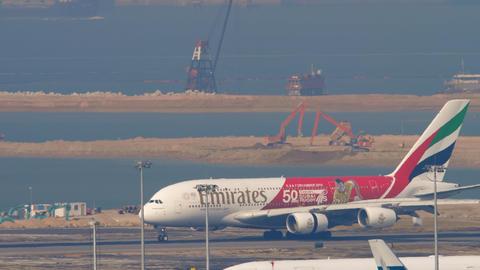 Airbus A380 landing in Hong Kong intrenational airport GIF