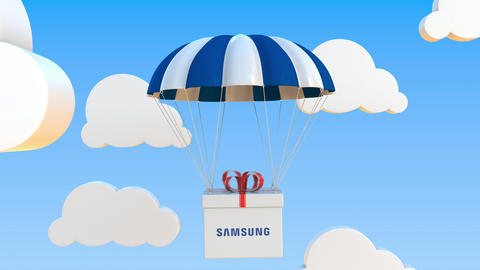 SAMSUNG logo on moving box moves under parachute. Editorial loopable 3D Live Action