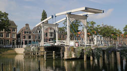 Hystorical drawbridge in old town,Weesp,Netherlands Footage
