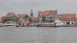 Ferry arriving in harbour,Volendam,Netherlands Footage