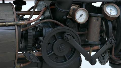4K Panning Over Old Black-Brown Steam Engine Footage