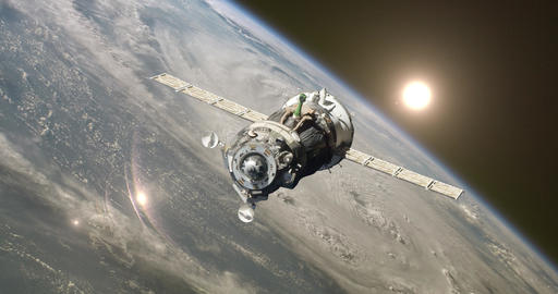 Spaceship At The Earth Orbit Footage