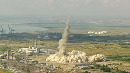Power station chimney demolish aerial view Footage