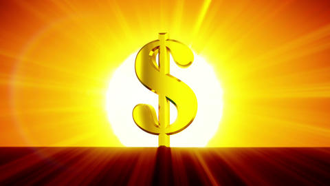 Dollar Symbol Growing in the Rising Sun. Sunrise Time-lapse. HD 1080. Beautiful  Animation