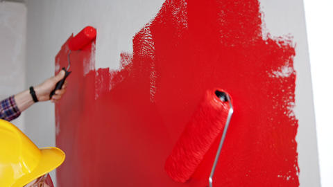 Apartment renovation - painting walls in red Live Action